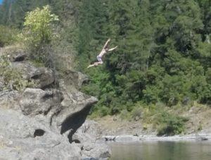 Jumping off rocks